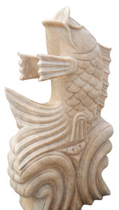 Koi Fish Fountain  Beige Marble 17429