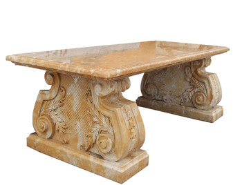 Accent Table  Beige Marble 17552