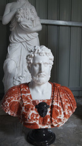 Male Bust on Pedestal Multi Colored Marble 17561