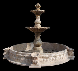 Two Tier Fountain with Surround in Travetine  17919
