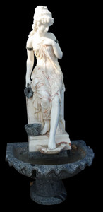 Woman in Fountain  Multi Colored Marble  18028