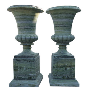 Urns in Green Marble Set of 2   18066
