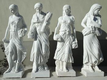Four Seasons on Base White Marble 18088