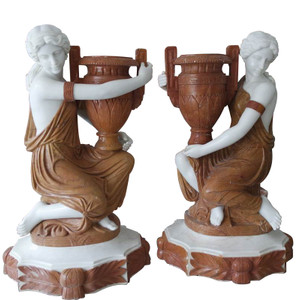Woman Holding Urn  Multi Colored Marble  Set of 2   18153