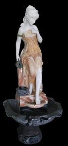 Woman in Fountain  Multi Colored Marble  18156