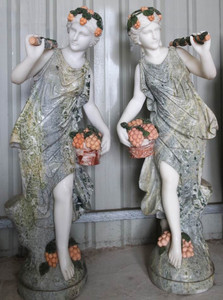 Women with Flowers on Base Multi Colored Marble Set 2 18175