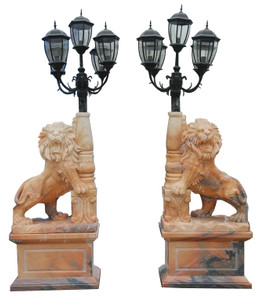 Standing Lion Exterior Lamps in Sunglow Marble Set of 2 18181