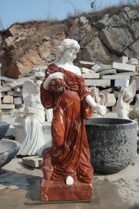 Women Holding Flowers Multi Colored Marble Set of 2 18190