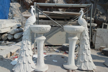 Peacock Planters in White Marble   Set of 2   18192