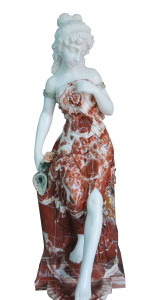Woman in Fountain  Multi Colored Marble  18256