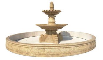 Two Tier Fountain   Beige Marble  W0126
