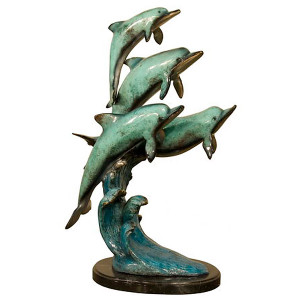 "23""H Four Dolphins On Marble Base In Special Patina Bronze Statue Garden"