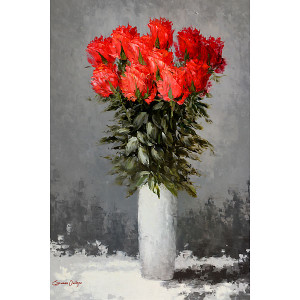 Red Flower Vase Gallery Wrap