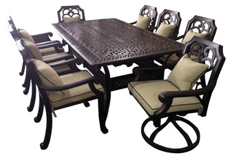 Astoria 11pc Outdoor Dining Set Extendable Table Patio Furniture