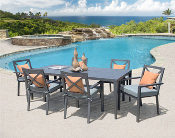 Titan 7pc Outdoor Dining Set Modern Table w Chairs Patio Furniture
