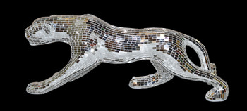 "15.5""H Mosaic Glass Jaguar Silver Statue Sculpture Home Decor Handcrafted"