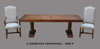 Lisbon Dining Table Set of 7 in Rustic Estate Finish