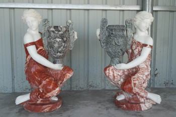 Pair Lady with Urn Multi Color Marble