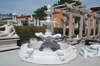 Three Tier Fountain White Marble