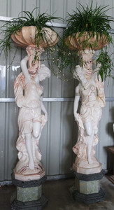Pair Woman Planter  ulti Colored Marble