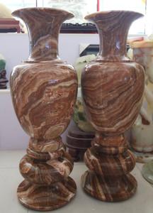 Pair Vase Multi Color Marble