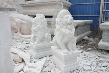 Pair Lions on Ball White Marble