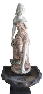 Woman in Fountain   Multi Colored Marble  16885