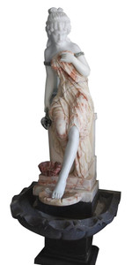 Woman in Fountain   Multi Colored  Marble  16886
