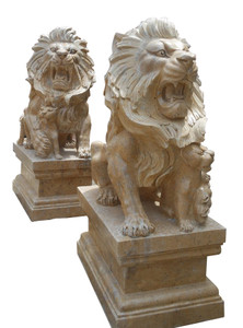 Pair of Beige Marble Sitting Lions 17090