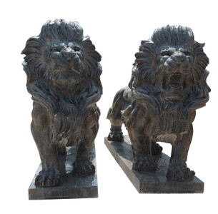 Standing Lions in Black Marble  Set of 2   17129