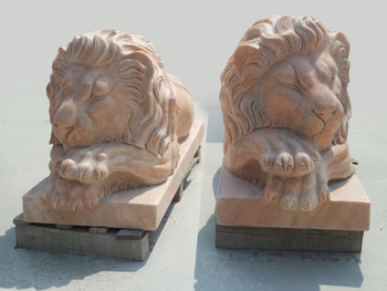 Pair of Lying Lions Sunglow Marble 17142