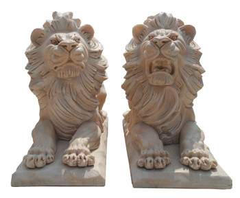 Pair of Beige Marble Laying Lions   17150