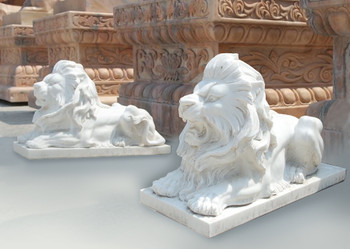 Pair of Lying Lions White Marble 17151