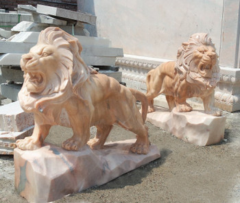 Pair of Standing Lions Sunglow Marble 17152