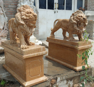 Pair of Standing Lions on Pedestal Beige Marble 17175