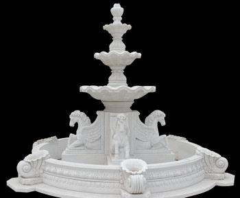 Magnificent White Marble 3 Tier Fountain with Surround 17246