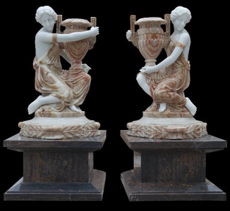 Pair Women with Urn on Pedestal Multi Colored Marble 17258