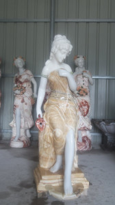 Woman Fountain in Multi Colored Marble  17267