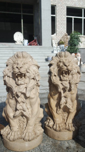 Pair of Sitting Lions Travertine Marble  17300