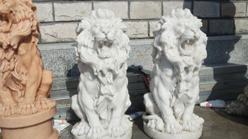 Pair of Sitting Lions White Marble 17305