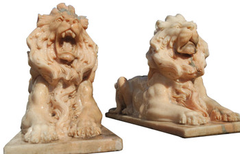 Pair of Sunglow Marble Laying Lions  17308