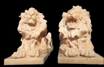 Pair of Sunglow Marble Laying Lions  17310