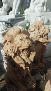 Pair of Sitting Lions Travertine Marble 17312