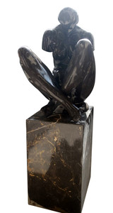 Abstract Sculpture Black and White Marble 17324