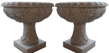 Planters in Yellow Stone Marble  Set of 2   17406