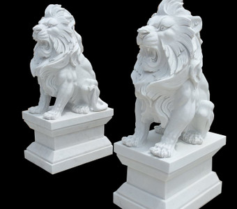 Pair of Sitting Lions  White Marble  17449