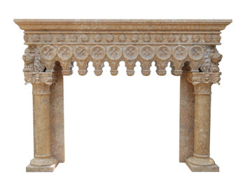 Scalloped Gothic Mantel  48Wx36H BoxArea  Beige Marble 17495