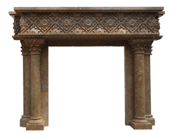 Diamond Faced Mantel 42Wx42H Box Area Beige Marble 17497