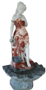 Woman in Fountain in Multi Colored Marble 17577