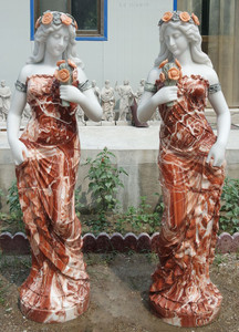 Women with Flowers in Multi Colored Marble Set of 2  17582
